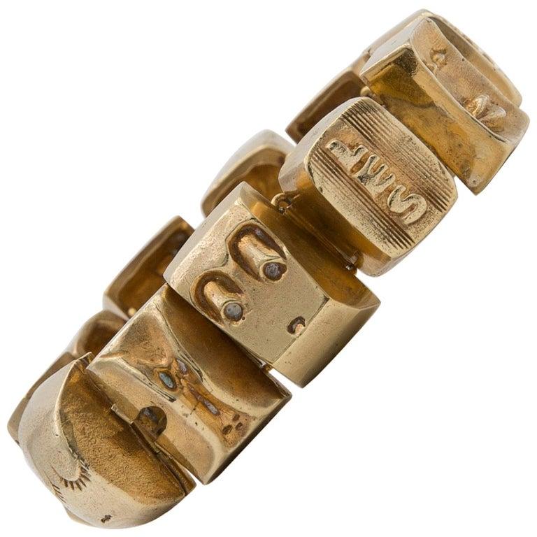 Line Vautrin Les Sept Péchés Capitaux Gilded Bronze Armband, Bracelet For Sale