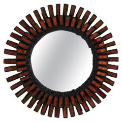 Line Vautrin, Round Wall Mirror in Red Talosel, France, C. 1940s
