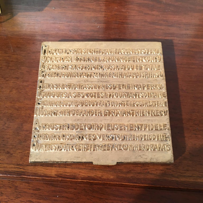 Mid-Century Modern Line Vautrin's Powder Box in Golden Bronze with Felix Arvers Poem, circa 1946 For Sale