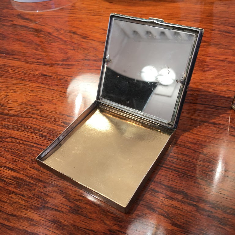Line Vautrin's Powder Box in Golden Bronze with Felix Arvers Poem, circa 1946 For Sale 3