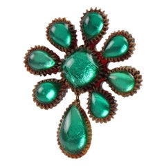 Line Vautrin School Aqua Green Talosel Resin Pin Brooch