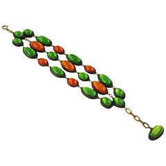 Line Vautrin School Green Orange Talosel Resin Link Bracelet