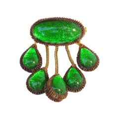 Line Vautrin School Green Talosel Resin Dangle Pin Brooch