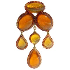 Line Vautrin School Honey Amber Talosel Resin Dangle Pin Brooch