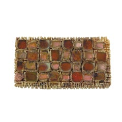 Line Vautrin Talosel Pink Mirror Checkerboard Brooch Pin