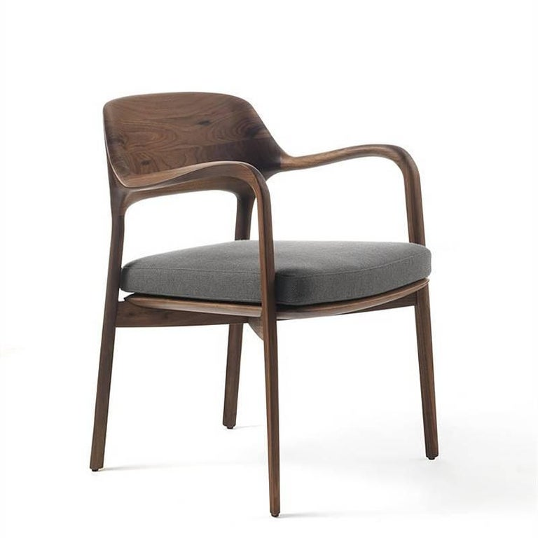 Hand-Crafted Linea Armchair in Solid Walnut For Sale