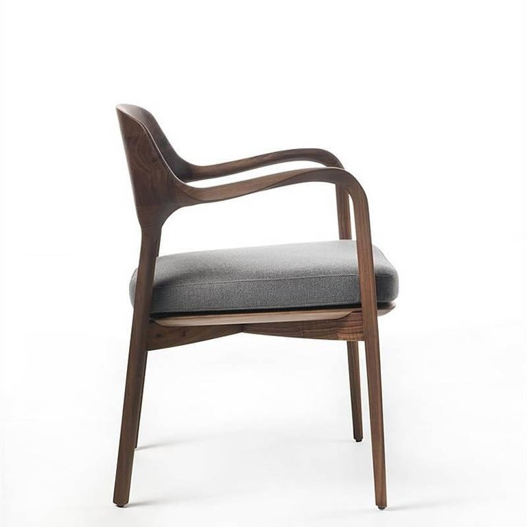 Contemporary Linea Armchair in Solid Walnut For Sale