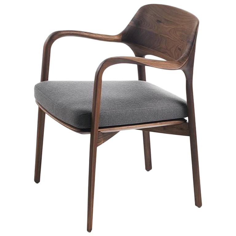 Linea Armchair in Solid Walnut For Sale