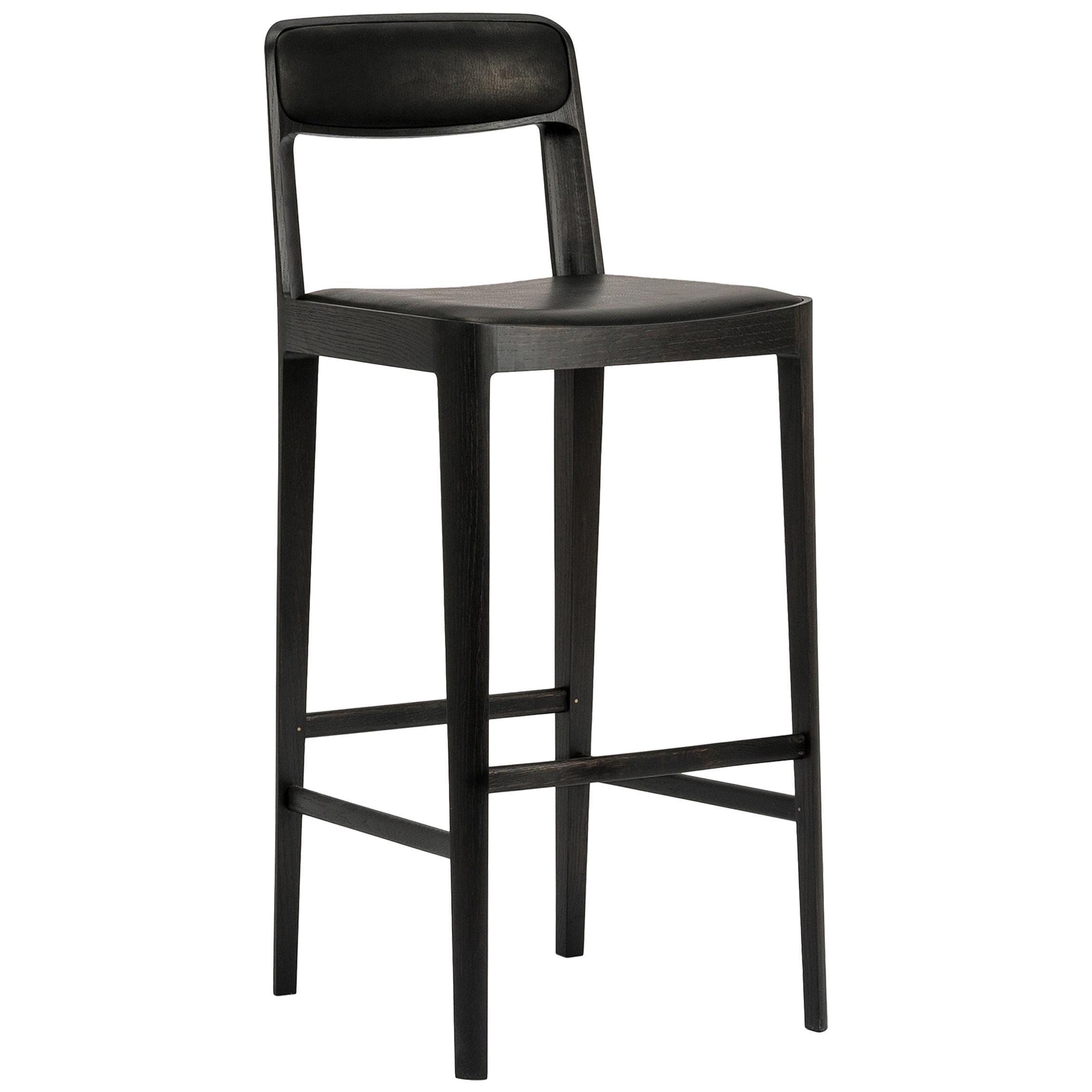 Linea Barstool, Ebonized Oak with Black Leather Upholstered Seat and Backrest