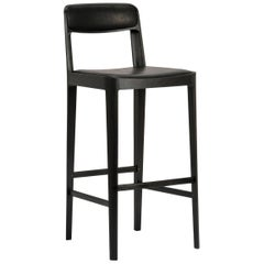 Linea Barstool, Ebonized Oak with Black Leather Upholstered Seat and Backrest