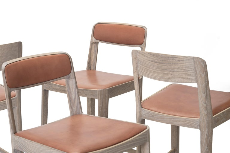 Linea Barstool, White Oak with Leather Upholstered Seat and Backrest For Sale 4