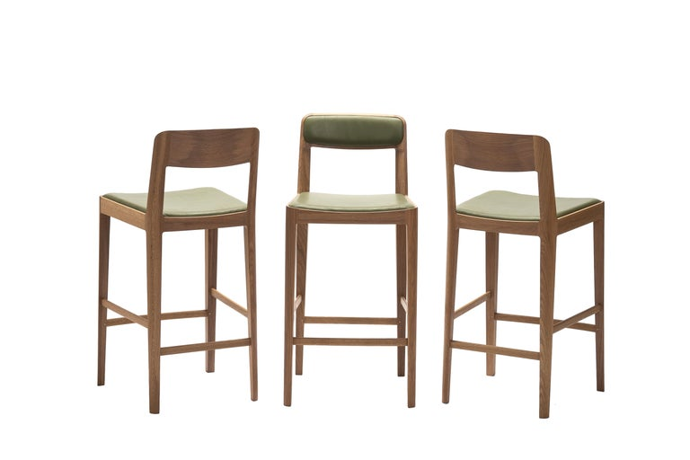 Linea Barstool, White Oak with Leather Upholstered Seat and Backrest For Sale 2