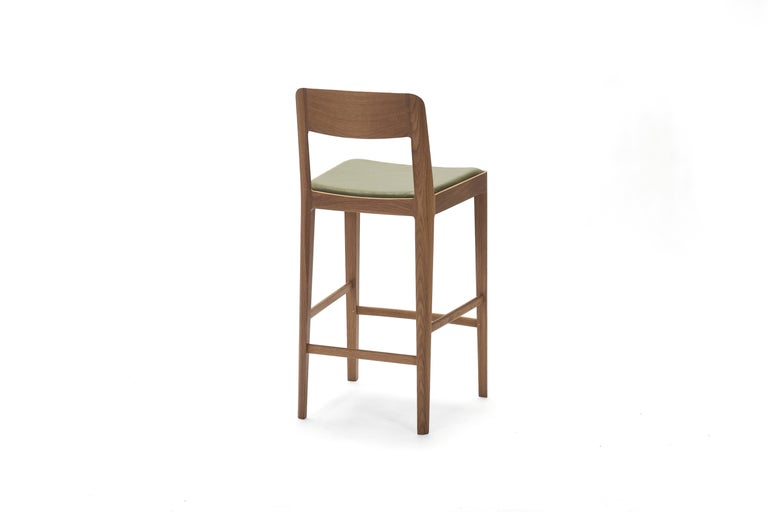 Linea Barstool, White Oak with Leather Upholstered Seat and Backrest For Sale 1