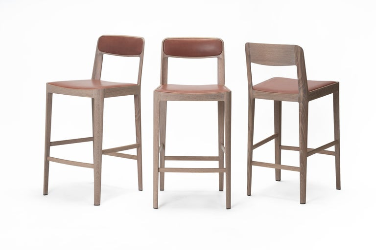 Linea Barstool, White Oak with Leather Upholstered Seat and Backrest For Sale 3