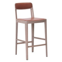 Linea Barstool, White Oak with Leather Upholstered Seat and Backrest