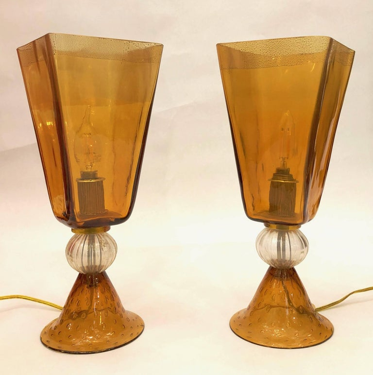 Linea Padovan 1970s Vintage Pair of Amber Gold and Crystal Murano Glass Lamps For Sale 8