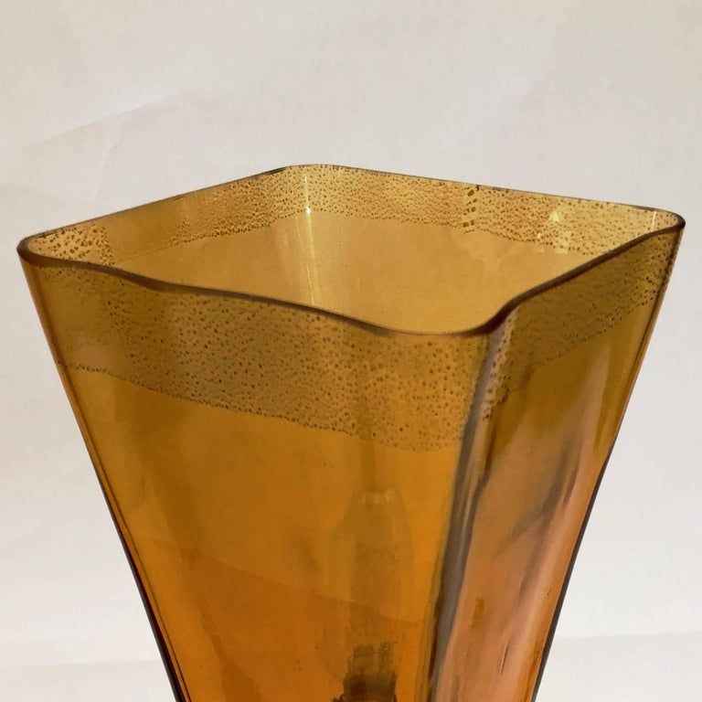 Linea Padovan 1970s Vintage Pair of Amber Gold and Crystal Murano Glass Lamps For Sale 2