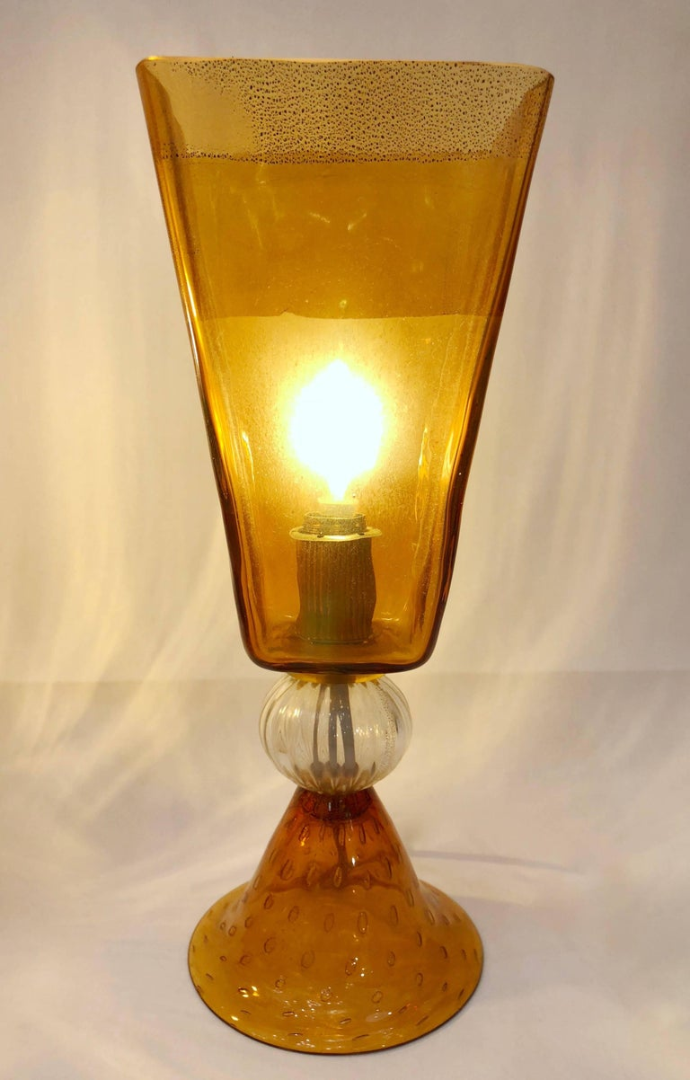Linea Padovan 1970s Vintage Pair of Amber Gold and Crystal Murano Glass Lamps For Sale 3