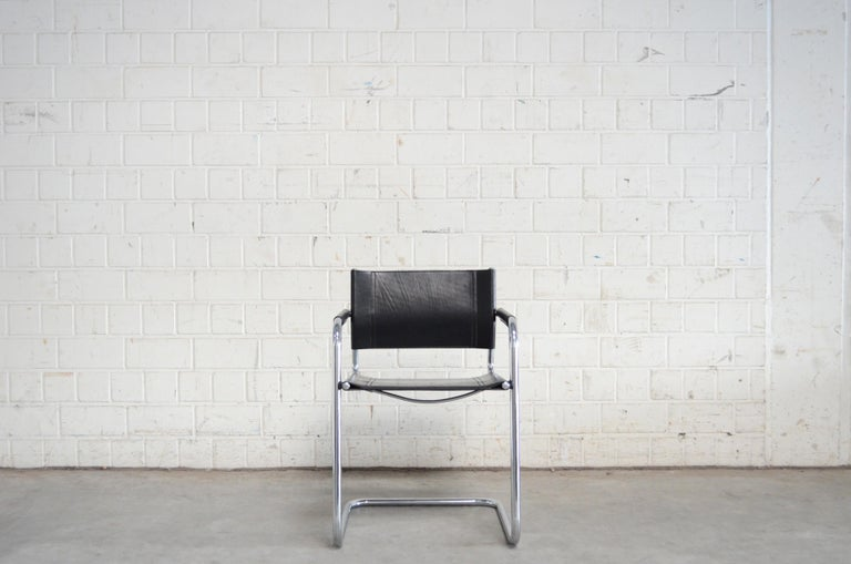Italian Linea Veam Cantilever Black Saddle Leather Chair