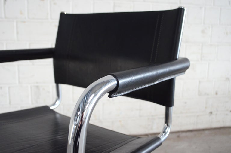 Steel Linea Veam Cantilever Black Saddle Leather Chair