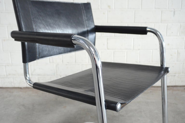 Linea Veam Cantilever Black Saddle Leather Chair 2