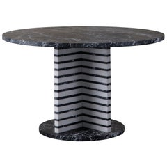 Lineage Black and White Marble Dining Table by Kelly Wearstler