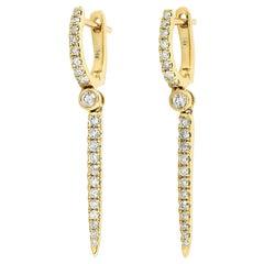 Linear Diamond 14 Karat Gold Huggie Hoop Earrings