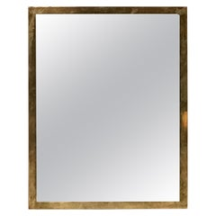 Linear Italian Rectangular Minimal with Brass Frame Mirror, 1950s