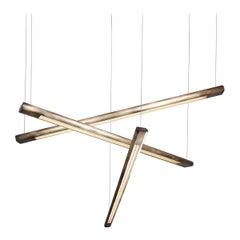 Linear Light, Aged Brass Yakata Chandelier