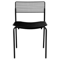Linear & Modern Black Metal Wire Dining Chair