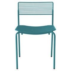 Linear & Modern Peacock Blue Metal Dining Chair