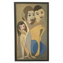 "Linear Portrait Painting by Peter Paul Sakowski, Titled ""Arm in Arm"", D. 1960"