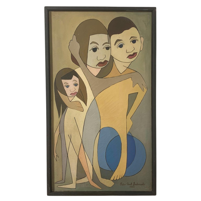 """Linear Portrait Painting by Peter Paul Sakowski, Titled """"Arm in Arm"""", D. 1960 For Sale"""