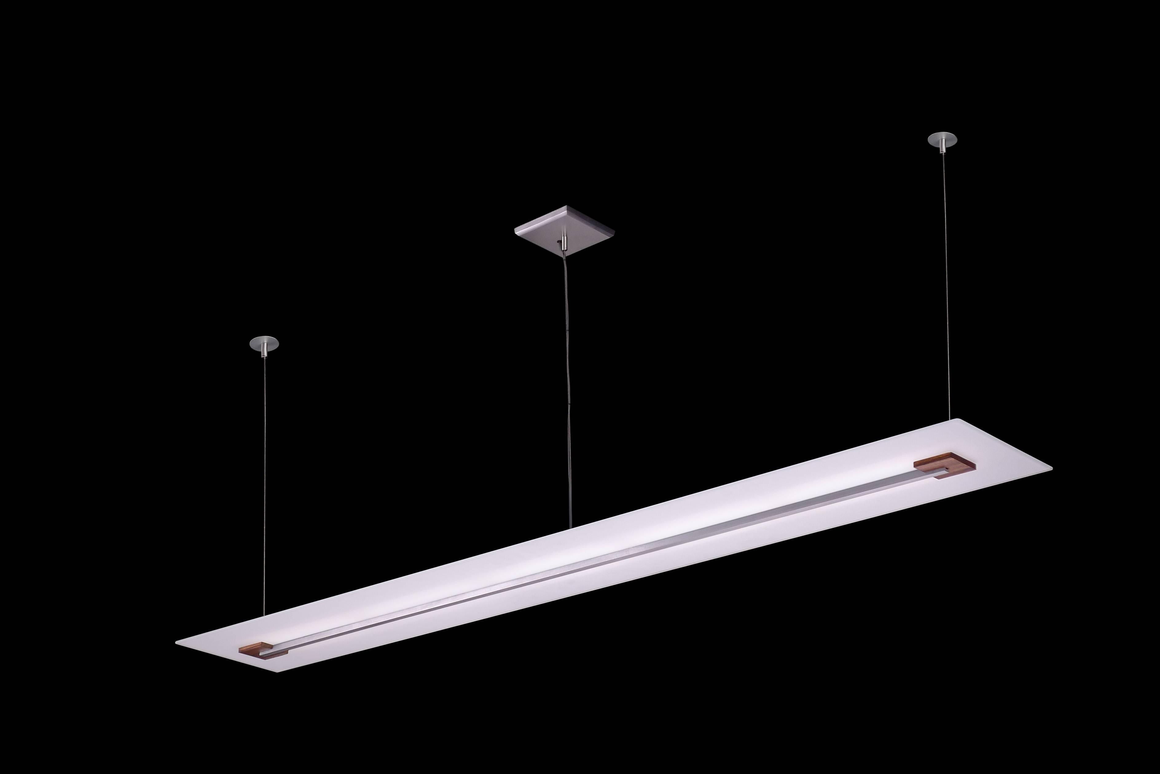 Long, Slender Glass Pendant With Machined Aluminum Bottom Detail And Zebra  Wood Blocks. Just