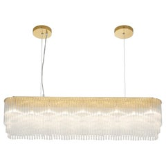 Linear Thin Chandelier 1010mm by Tom Kirk with Brass Based Bronze Finish