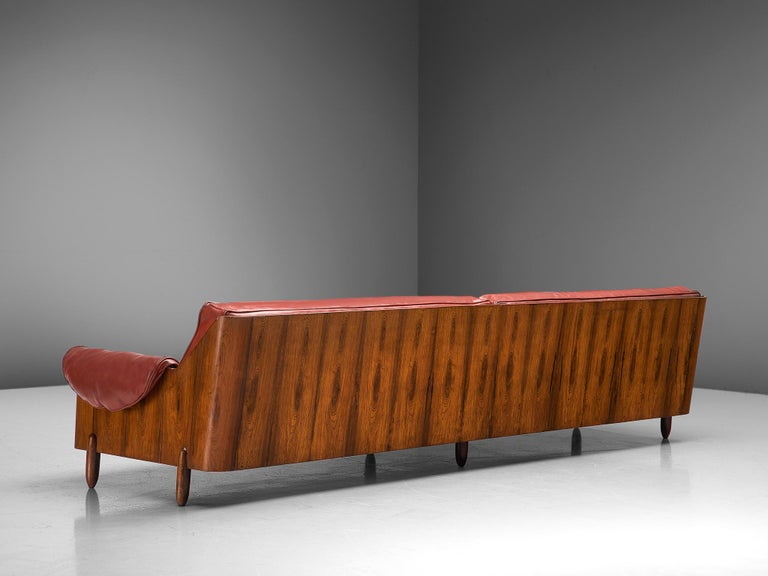 Lineart Moveis e Decoracoes, to be reupholstered sofa, rosewood and leatherette, Brazil, 1960s  Stunning and four-seat sofa was designed and manufactured by Lineart Moveis e Decoracoes. Very well crafted in exotic rosewood that functions as the