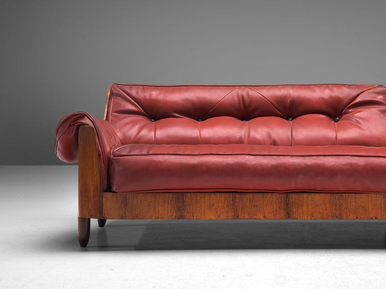 Faux Leather Lineart Moveis e Decoracoes Customizable Sofa in Rosewood For Sale