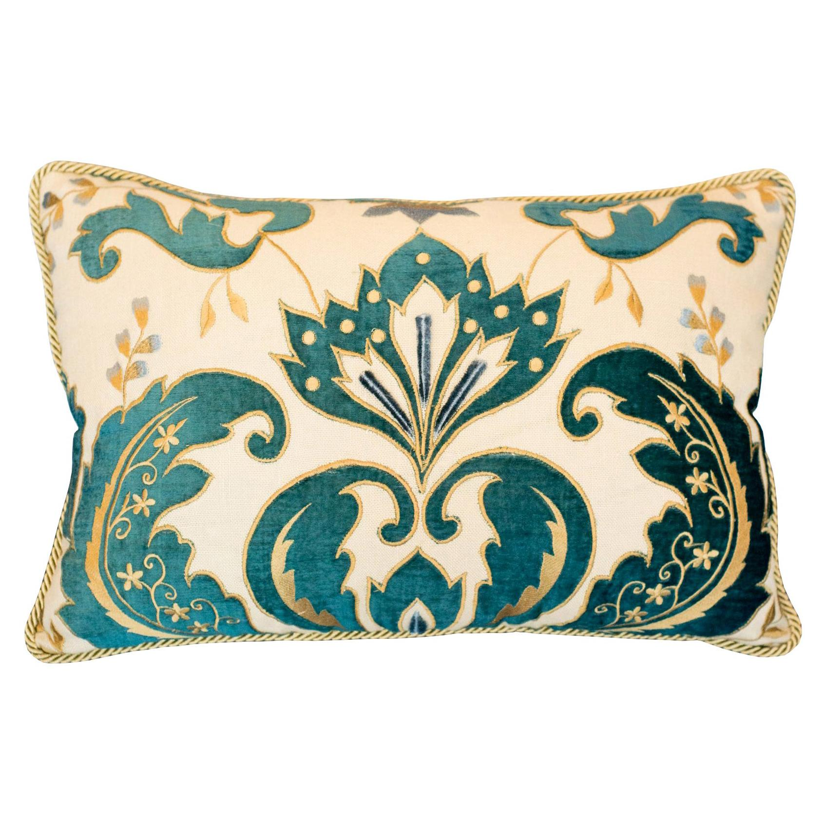 Linen and Blue Cut Velvet Pillow with Metallic Rope Trim by Studio Maison Nurita
