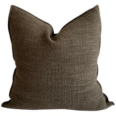 Linen and Jute Custom Accent Pillow with Down Insert