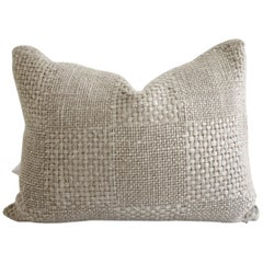 Linen Basket Weave Checkerboard Pattern Lumbar Pillow
