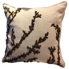 Linen Cushion Color Oyster With Hand Embroidered Coral Bronze Sequins