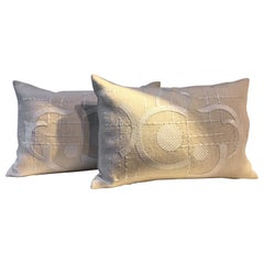 Linen Cushions Color Oyster with Art Deco Design Hand Embroidery
