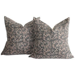 Linen Hand Blocked Pillow Covers