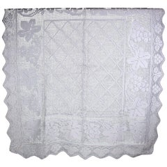Linen Hemstiched Tablecloth From the 1950s