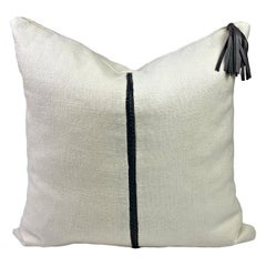 Linen Pillow with Grey Leather Trimming and Tassel