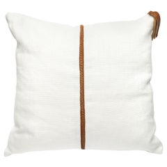 Linen Pillow with Leather Trimming and Tassel