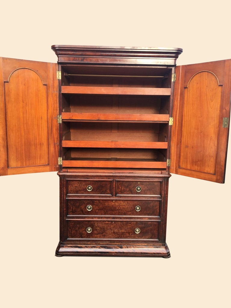 Hand-Crafted Linen Press in Mahogany. English C 1860. For Sale