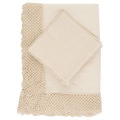 Linen Set of Tablecloth and Napkins with Macramè by Once Milano