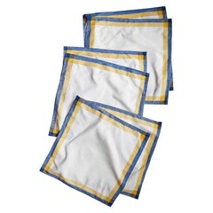 Linen Square Cloth Dinner Napkin Set in Blue Yellow and Cream, Set of 6