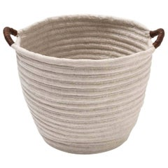 Linen Woven Basket in Natural with Leather Handles Custom Crafted in the USA